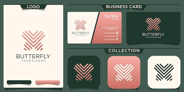 Schmetterling logo geometrisches design abstrakte vektorvorlage lineare stilikone.