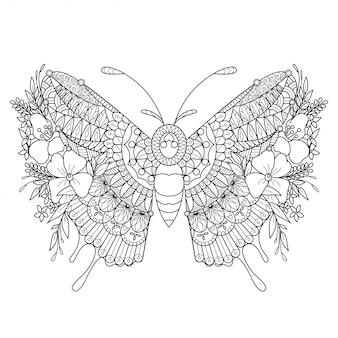 Schmetterling mandala zentangle illustration im linearen stil