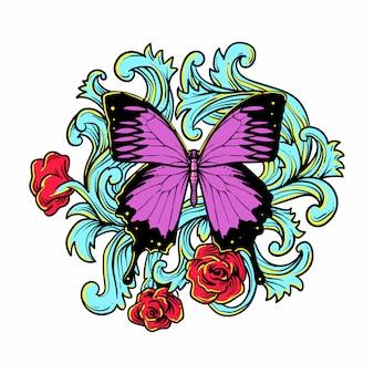 Schmetterling mit natürlicher rosenillustration