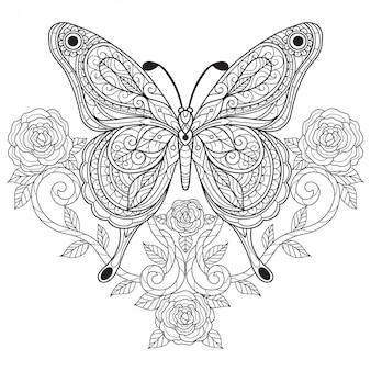 Schmetterling mit rose. hand gezeichnete skizzenillustration für malbuch für erwachsene.