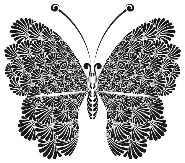 Schmetterling mit schöner spitzenflügeltätowierungsvektorillustration