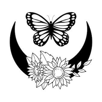Schmetterling mit sonnenblumenmond boho-mond umrisszeichnung linie vektor-illustration