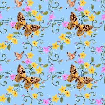 Schmetterling und schöne blumen auf blauem nahtlosem muster.