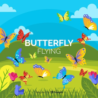 Schmetterlinge, die in einen feldhintergrund fliegen