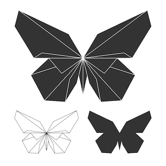 Schmetterlinge-logo festgelegt. vektorlinie und schattenbildschmetterling