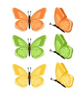 Schmetterlinge lokalisiert auf weißem hintergrund. farbige schmetterlinge. hübscher schmetterling eingestellt mit frühlingspalette für kind.