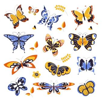 Schmetterlinge, tiere oder insekten mit verzierung auf flügeln