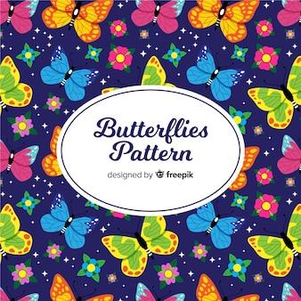 Schmetterlinge und blumen hintergrund