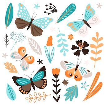 Schmetterlinge und blumenelemente auf weißem hintergrund