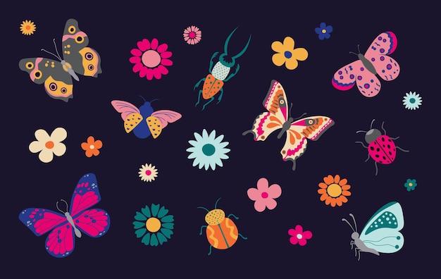Schmetterlinge und käfer frühlings- und sommerkarikaturinsekten bunter schmetterling und marienkäfer mit blumen