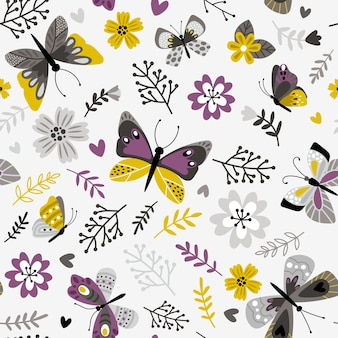Schmetterlinge und zweige muster. nahtloser druck der blumenbotanicals, gedruckter botanischer blumenvektorhintergrund auf weißer, dekorativer frühlingswiesenflora-vektorillustration