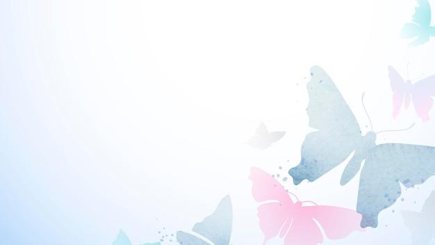 Schmetterlings-desktop-hintergrund, rosa ästhetische grenzvektor-tierillustration