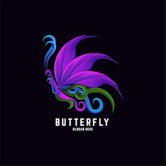 Schmetterlings-farbverlauf buntes logo-design