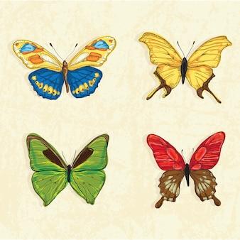 Schmetterlings-ikonen (sammlungssatz) auf weinlesehintergrund