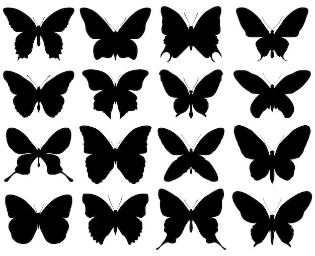 Schmetterlings-silhouette-set
