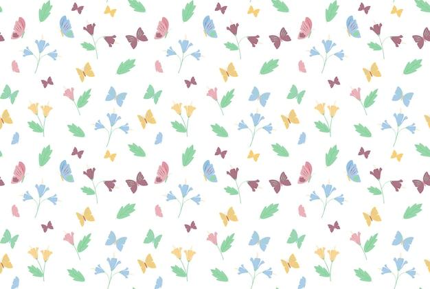 Schmetterlings- und blumenmusterhintergrund