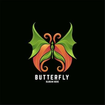 Schmetterlingsblatt mit farbverlauf farbenfrohes logo-design