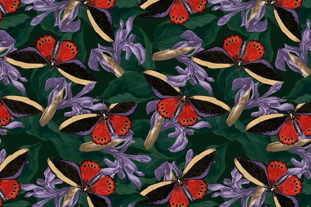 Schmetterlingsblumen abstrakter hintergrundvektor mit designraum, remix von the naturalist's miscellany von george shaw