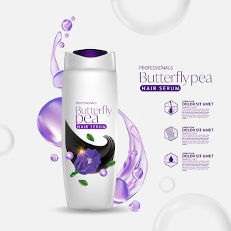 Schmetterlingserbse blume haarpflege shampoo verpackung design-vorlage
