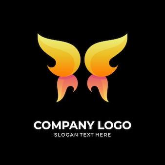 Schmetterlingsfeuer-logokonzept mit 3d-farbstil in gelb und orange