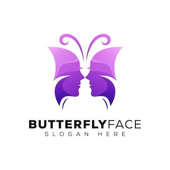 Schmetterlingsgesichtslogo, schönheitsfrauenlogo, schönheit mit schmetterlingslogo-konzept