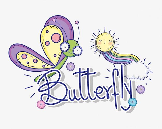 Schmetterlingsinsektentier mit sonne und regenbogen