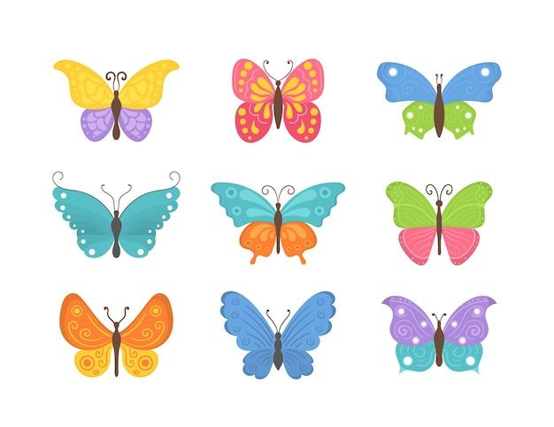 Schmetterlingskollektion im flachen design. satz fliegende schmetterlingsikonen lokalisiert auf einem weißen hintergrund. bunte sommerinsekten eine draufsicht.