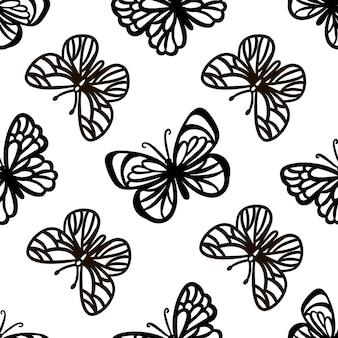 Schmetterlingslinienmuster monochrome süße insekten