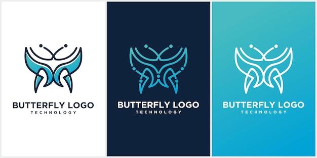 Schmetterlingslogo. luxuslinien-logo-design. minimalistisches schmetterlingslinien-logo-konzept
