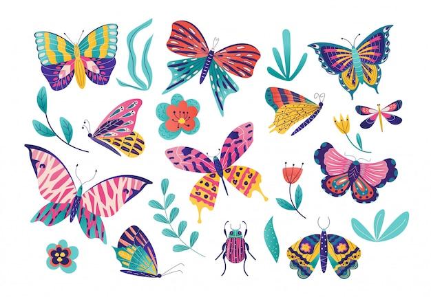 Schmetterlingsmotteninsektenillustrationssatz, karikaturinsektensammlung mit der bunten fliegenden schmetterlingsgruppe, fehlerikone lokalisiert auf weiß