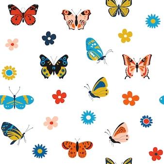 Schmetterlingsmuster cartoon nahtlose textur für den druck mit bunten fliegenden insekten