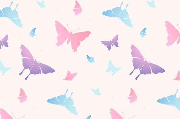 Schmetterlingsmusterhintergrund, weiblicher rosa ästhetischer vektor
