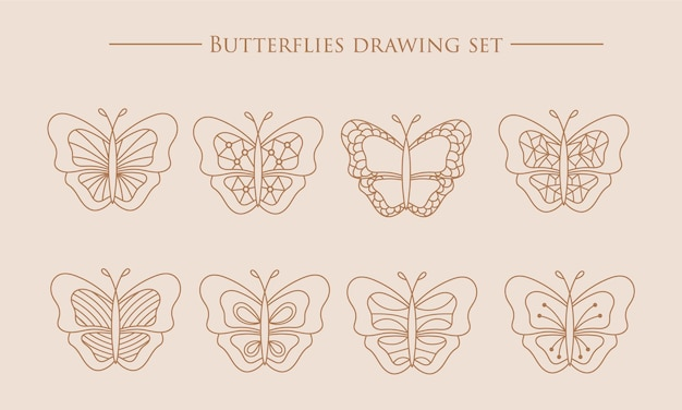 Schmetterlingssammlung schöne natur fliegendes insekt exotische magische schmetterlinge linie silhouette set