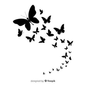 Schmetterlingsschwarm silhouette hintergrund