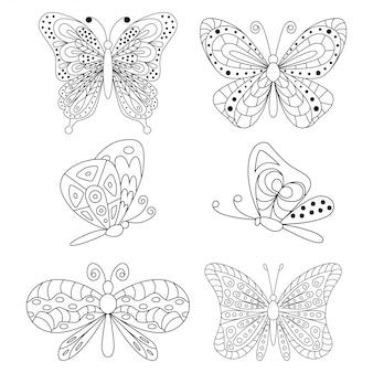 Schmetterlingsschwarzes schattenbildkarikatursatz lokalisiert auf einem weißen hintergrund.