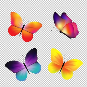 Schmetterlingsset isoliert mit farbverlaufsnetz, illustration