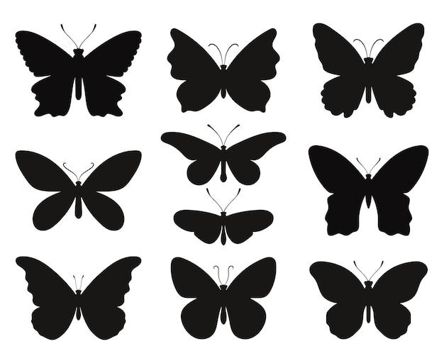 Schmetterlingssilhouetten eingestellt. schwarze schablonenformen von schmetterlingen und motten, konturenfrühlingspapillon, vektorillustrationssymbole von umrissfaunakreaturen einzeln auf weißem hintergrund