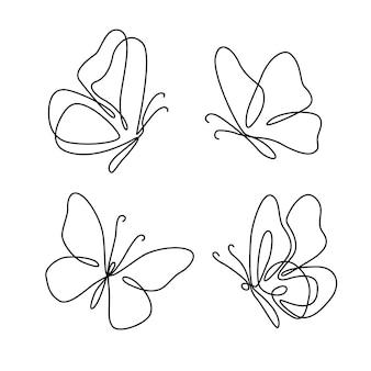 Schmetterlingsumriss mit gezeichneter detailsammlung