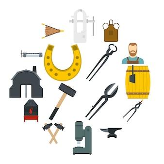 Schmied icons set in flachen stil
