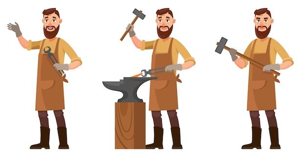 Schmied in verschiedenen posen. männliche figur im cartoon-stil.