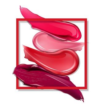 Schmiert lippenstift auf weißem hintergrund kosmetik kommerzielle schöne art-vektor-illustration
