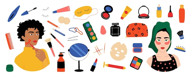 Schminkset. nette weibliche charaktere mit gesichtspflegekosmetik, weibliche zeichentrickfiguren mit lippenstiftfleckenbürste. vektor lokalisierte gesetzte modeproduktkosmetik