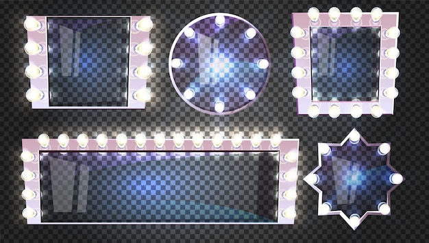 Schminkspiegel mit lampenillustration im retro- quadrat-, rund- und sternformrahmen