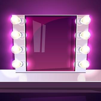 Schminkspiegel mit lampenillustration im retro- weißen rahmen mit realistischen glühlampen