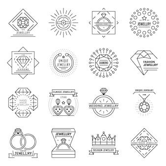 Schmuck-icon-set. umrisssatz schmuckvektorikonen