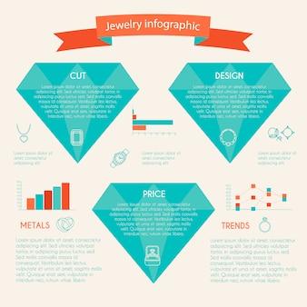 Schmuck infographic mit den diamantdiagrammen und schmuckikonen eingestellt