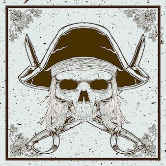 Schmutzart-piratenschädel und klinge kreuzten illustration