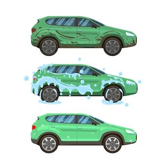 Schmutzige autowäsche. unordentliches stadtverkehrsauto, schritte zum reinigen der autowäsche von schmutzig und schlammig zu ordentlichem und sauberem illustrationssatz, waschservice-infografik