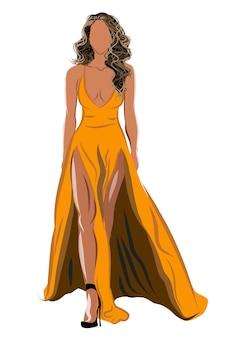 Schmutzige blonde frau in orangefarbenem kleid und schwarzen high heels