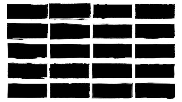 Schmutzige rahmen für design im grunge-stil. pinselstriche mit tinte. eine reihe von nottexturen in quadratischer oder rechteckiger form. isolierte hintergründe für die gestaltung von textrahmen, postern, bannern. schwarz-weiss.